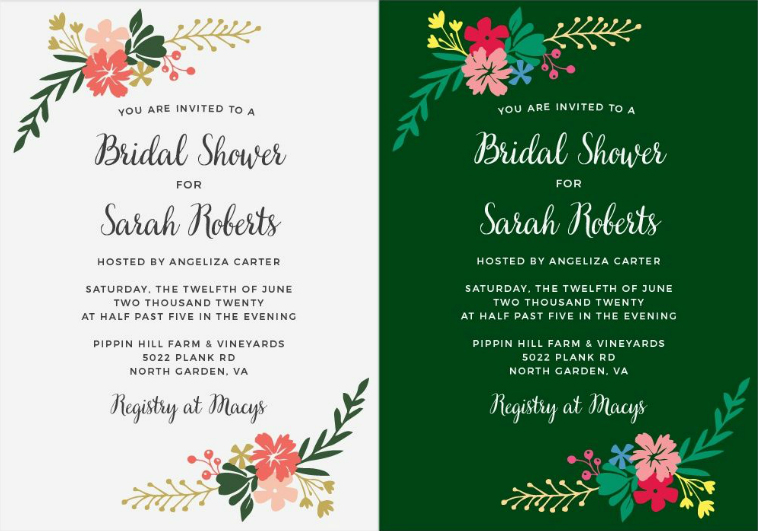 Completely custom bridal shower invitations with basic invite completely custom bridal shower invitations from basic invite the invitation on the left is the filmwisefo