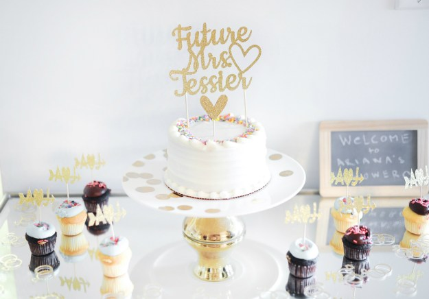 Chic bridal shower cake with a gold Future Mrs. cake topper. A Rooftop New York City Bridal Shower | Ultimate Bridesmaid | Jessica Frey Photography