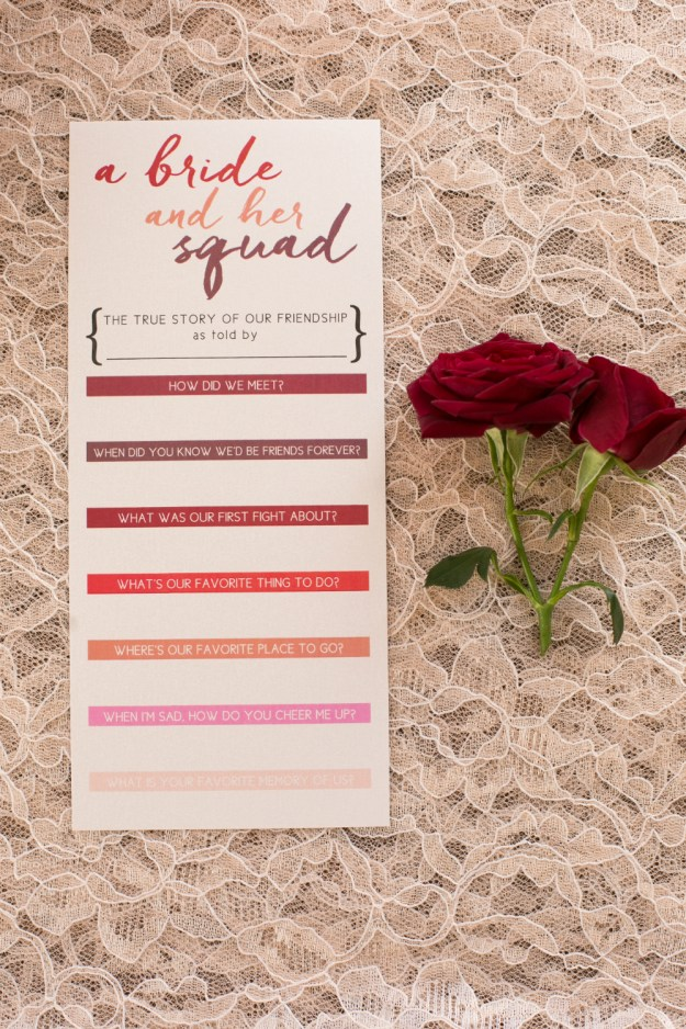 "A Bride and her Squad bachelorette game. A ""Find Your Perfect Red"" Boudoir Bachelorette Party 
