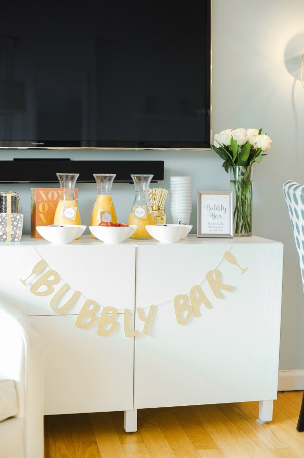 Mimosa bubbly bar for a bridal shower. A Rooftop New York City Bridal Shower | Ultimate Bridesmaid | Jessica Frey Photography