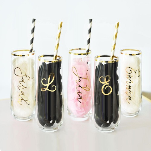 Bridesmaid Gifts Under $30: Personalized stemless champagne flutes. These are perfect for mimosas on your wedding day!