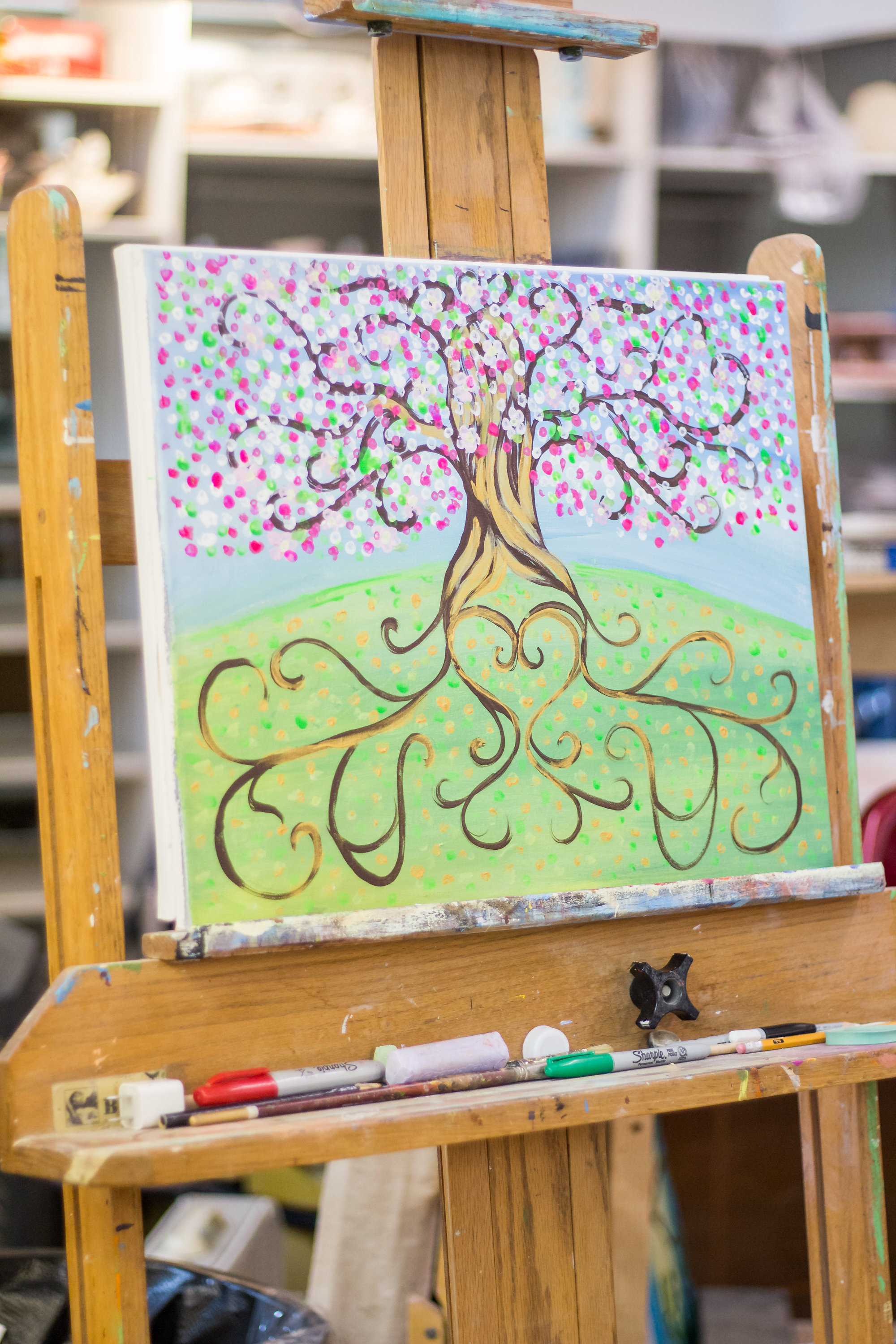 b705b5680ef ... A Tree of Love painting at a painting class bridal shower. A Lingerie   Painting  A Lingerie   Painting Party ...