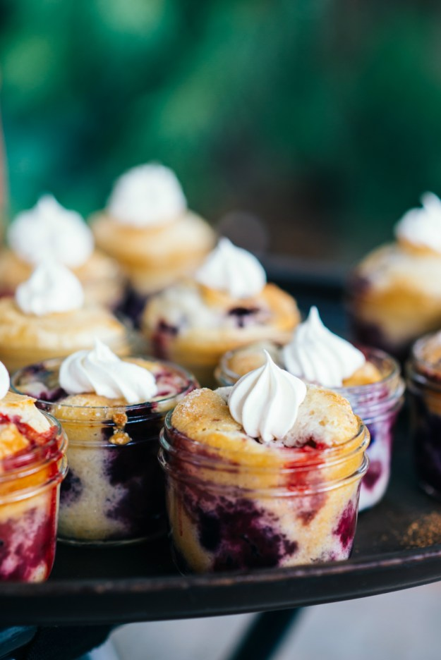 Cobblers in mini Mason jars, baked by the groom's mother. A Summer Picnic Bridal Shower | Ultimate Bridesmaid | Jill Gearhart Photography