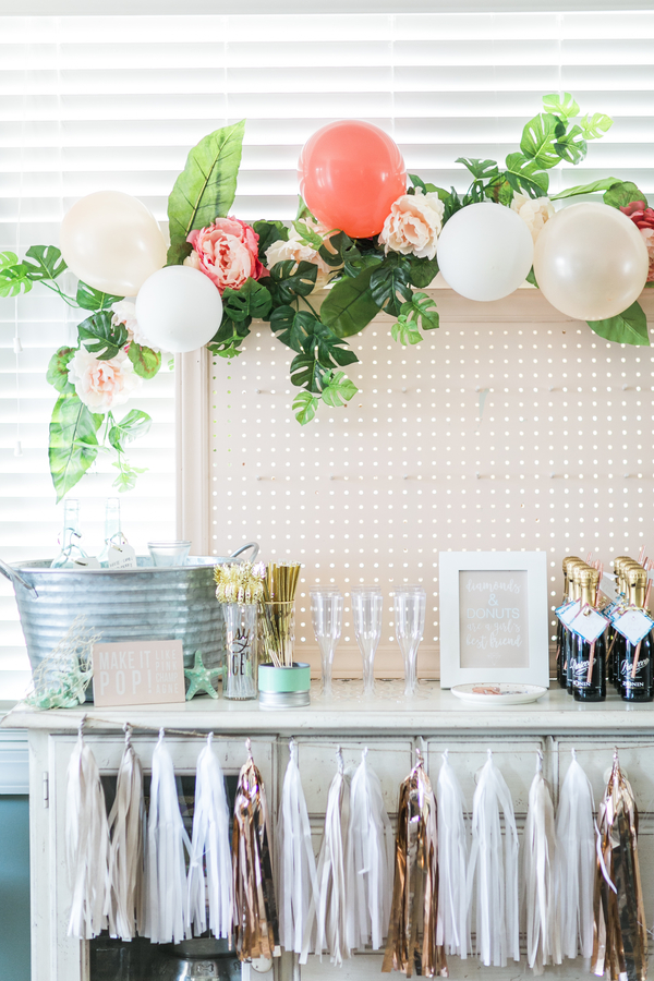 A seaside chic bar setup for a bachelorette party. A Donut Wall Bachelorette by the Sea | Ultimate Bridesmaid | Sidney Leigh Photography