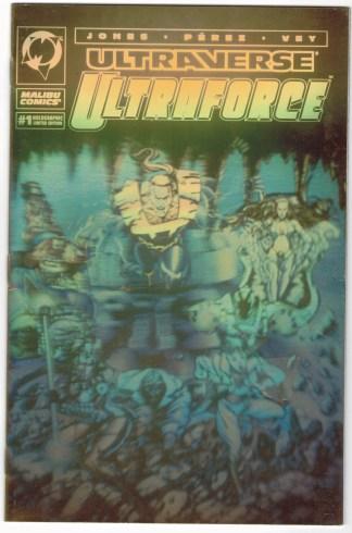 Ultraverse Ultraforce #1 George Perez Gold Foil Hologram Variant VF/NM