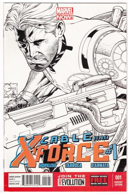 Cable and X-Force #1 1:100 Joe Quesada Black and White Variant 2012 VF/NM