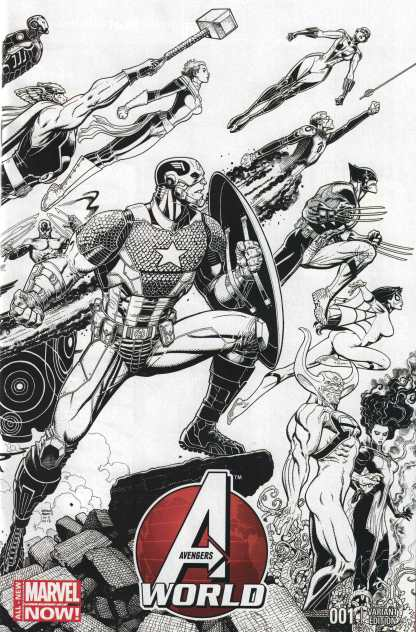 Avengers World #1 1:125 Art Adams Black and White Wraparound Variant