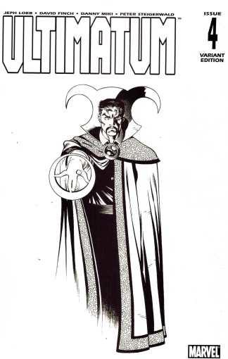 Ultimatum #4 1:75 Ed McGuinness Black White Sketch Doctor Strange Variant