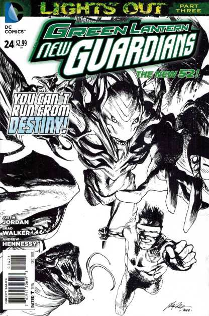 Green Lantern New Guardians #24 1:25 Sketch Variant New 52! Lights Out