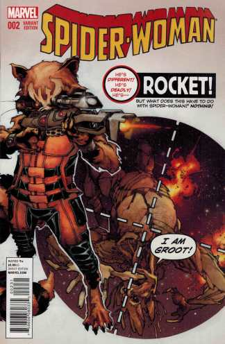 Spider-Woman #2 Bianchi Rocket and Groot Variant ANMN Marvel 2015
