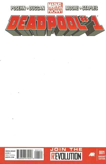 Deadpool #1 Blank Sketch Variant New HTF Marvel NOW 2012