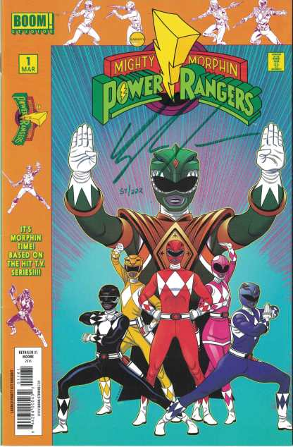 Mighty Morphin Power Rangers #1 Green Higgins Signed w/ COA Dynamic Forces
