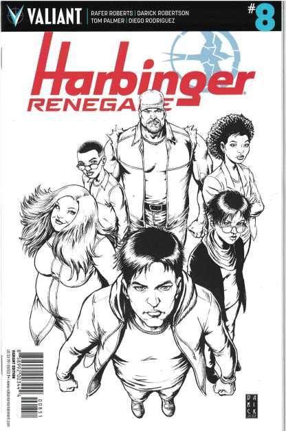Harbinger Renegade #8 1:50 Darick Robertson B&W Valiant Variant 2016
