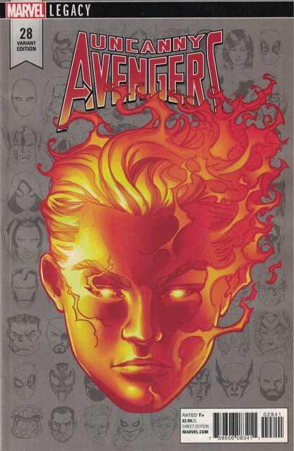 Uncanny Avengers #28 1:10 McKone Legacy Headshot Variant Marvel 2015 Human Torch