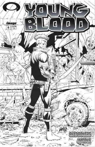 Youngblood #6 Rob Liefeld B&W Walking Dead #1 Tribute Variant Image 2017