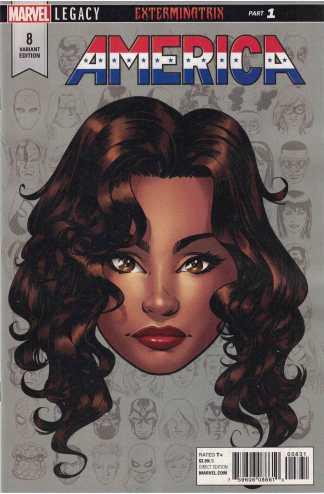 America #8 1:10 Mike McKone Headshot Variant Marvel Legacy