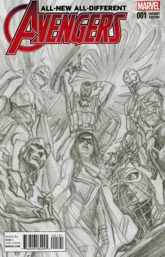 All New All Different Avengers #1 1:200 Alex Ross Sketch Variant Marvel 2015 VF/NM-