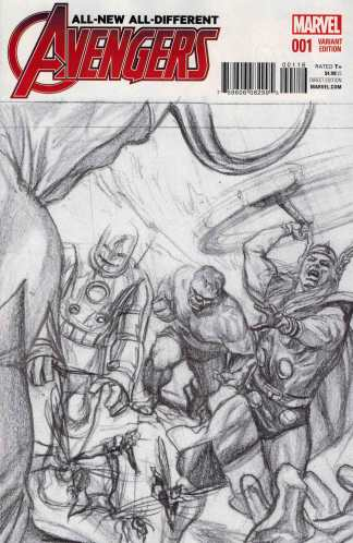 All New All Different Avengers #1 1:150 Ross Vintage Sketch Variant Marvel 2015 ANAD