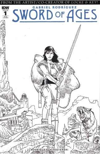 Sword of Ages #1 1:25 Gabriel Rodriguez B&W Sketch Variant IDW 2017