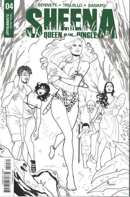 Sheena Queen of the Jungle #4 1:30 Maria Sanapo B&W Variant Dynamite 2017