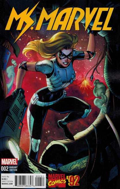 Ms Marvel #2 1:20 J Scott Campbell Marvel 92 Variant ANAD 2015 Carol Danvers