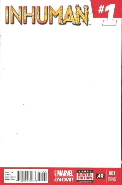Inhuman #1 BLANK Sketch Variant Marvel ANMN 2014 Lash 1st Appearance