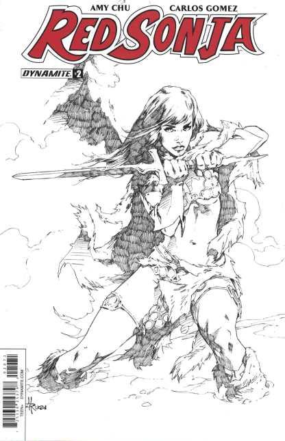 Red Sonja #2 1:30 Mel Rubi Black & White Sketch Variant Cover G 2017 Dynamite