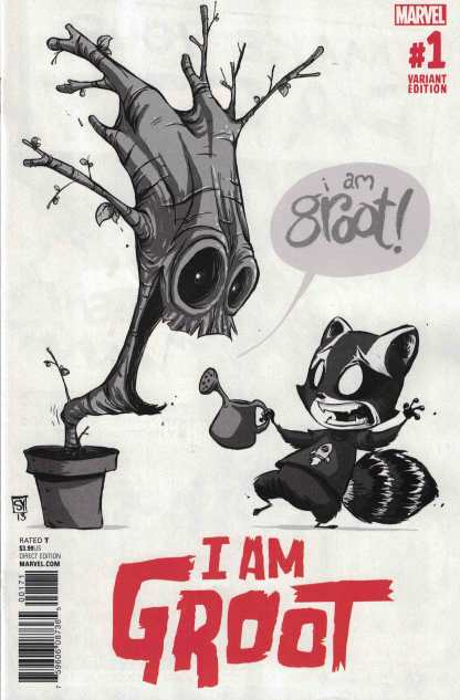 I Am Groot #1 1:50 Skottie Young B&W Black and White Sketch Variant Marvel 2017