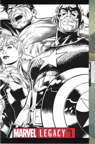 Marvel Legacy #1 1:500 Joe Quesada B&W Wraparound Sketch Variant 2017 Avengers