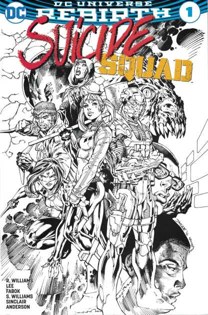 Suicide Squad #1 Jim Lee Black & White Sketch Promo Variant DC 2016 Rebirth