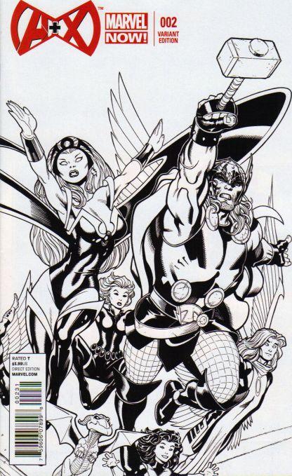 A+X #2 1:50 Ed McGuinness B&W Sketch Variant Marvel 2012 A Plus X Men Avengers