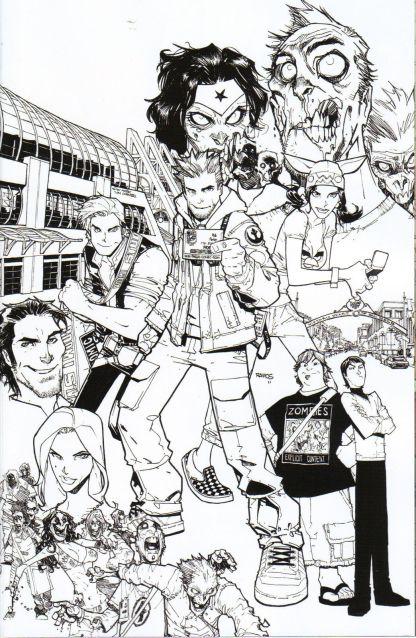 Fanboys vs. Zombies #1 1:50 Humberto Ramos B&W Virgin Art Variant
