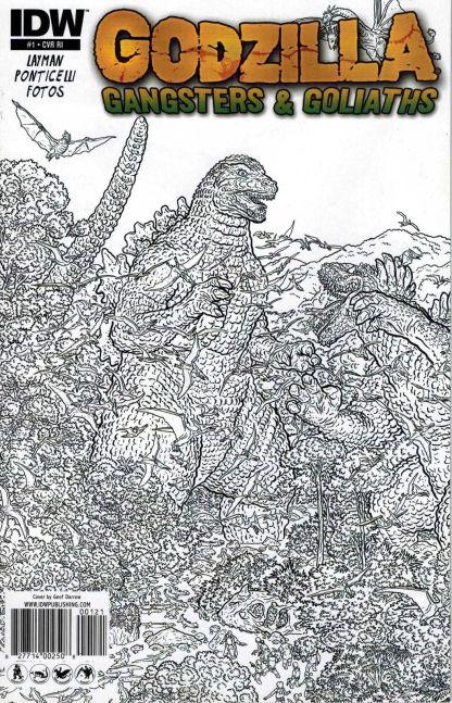 Godzilla: Gangsters & Goliaths #1 Black White Alberto Ponticelli Sketch Variant