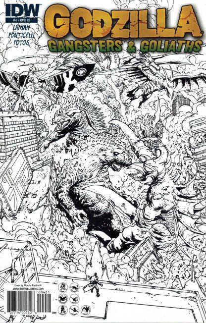Godzilla: Gangsters & Goliaths #4 Black White Alberto Ponticelli Sketch Variant