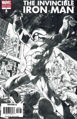 Invincible Iron Man #7 Black and White Bryan Hitch Sketch Variant
