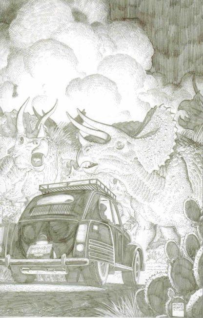 Jurassic Park #2 Black and White Arthur Adams Sketch Variant