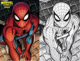 Marvel Comics #1000 Ultimate Comics Exclusive Art Adams Amazing Spider-Man Color/ B&W Sketch Set 2000/500 Variant 2019 In Hand