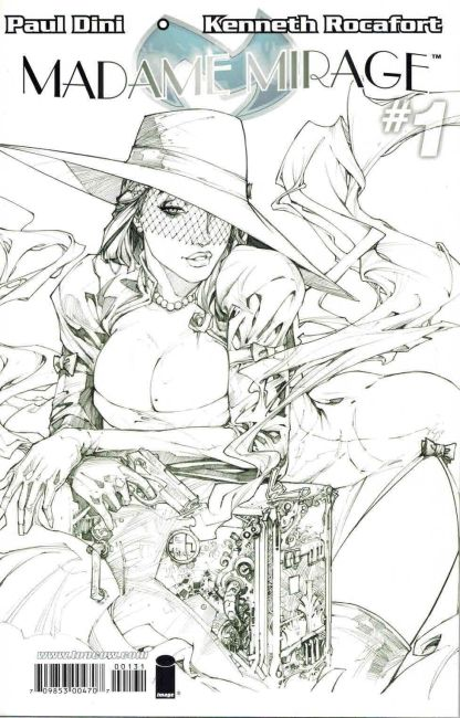 Madame Mirage #1 Black and White Kenneth Rocafort Sketch Variant Paul Dini