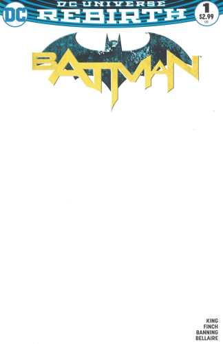 Batman #1 Blank Sketch Variant DC Rebirth 2016 Tom King Dave Finch