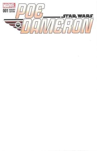 Star Wars Poe Dameron #1 Blank Sketch Variant Marvel 2016 Force Awakens