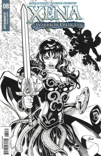 Xena Warrior Princess #8 1:10 Cifuentes Black White Sketch Variant Dynamite 2018