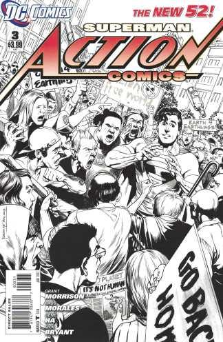 Action Comics #3 1:200 Rags Morales B&W Sketch Variant DC 2011 New 52 Superman