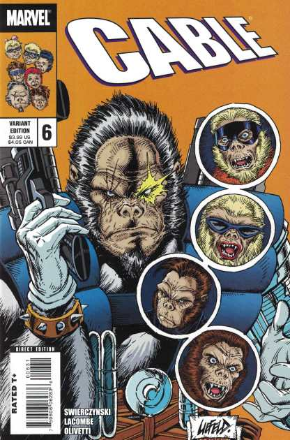 Cable #6 Rob Liefeld Marvel Apes Variant 2008 New Mutants #87 Homage