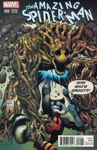 Amazing Spider-Man #9 Rocket Raccoon and Groot Stegman Variant Marvel 2015