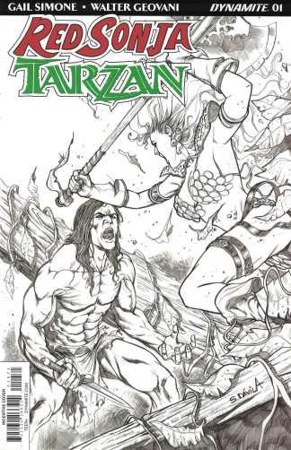 Red Sonja Tarzan #1 1:20 Davilla Black White Sketch Variant Dynamite 2018
