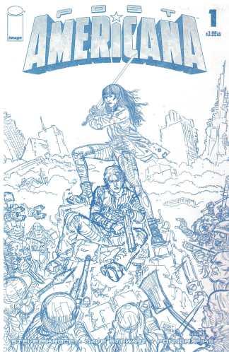 Post Americana #1 1:50 Steve Skroce Blue Line Sketch Variant Image 2020