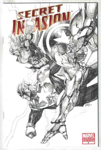 Secret Invasion #6 Leinil Francis Yu B&W Sketch Variant Marvel 2008 VF/NM