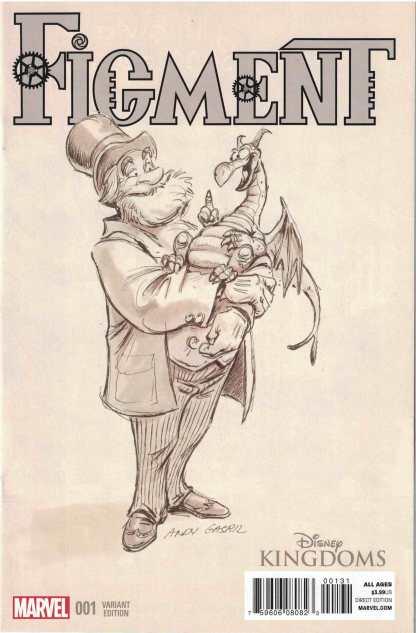 Figment #1 1:50 Andy Gasril B&W Sketch Variant Marvel 2015 Disney Kingdoms