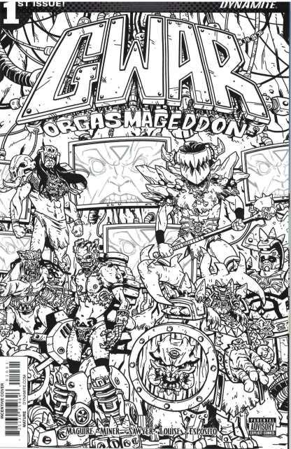 GWAR Orgasmageddon #1 1:10 Scott Wygman B&W Sketch Variant Dynamite 2017