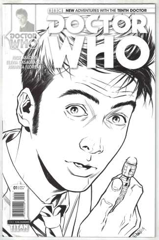 Doctor Who the Tenth Doctor #1 1:25 Casagrande B&W Variant Titan 2014 VF/NM